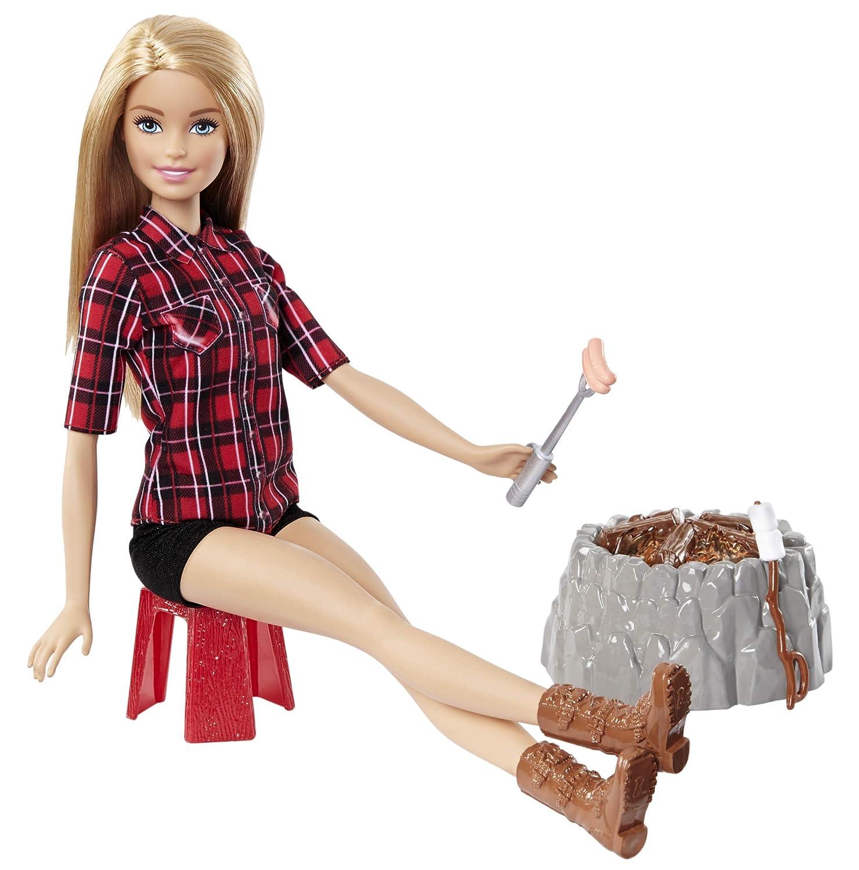 Barbie FDB44 Lagerfeuer Set Puppe blond
