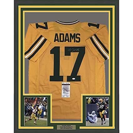 Image Unavailable. Image not available for. Color  Framed Autographed Signed  Davante Adams 33x42 Green Bay Packers Yellow Football Jersey JSA COA 1931717b5