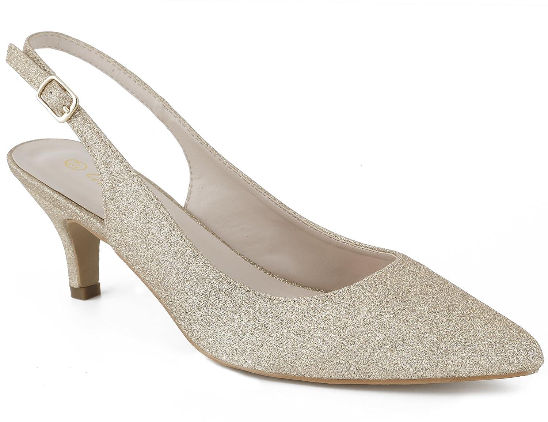 gold Glitter Greatonu Womens Slingback Kitten Dress Pump