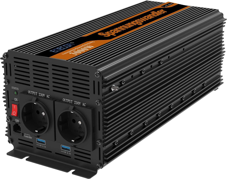 EDECOA Inversor 24v 220v Transformador de voltaje 3000w onda modificada 24v 220v con Mando a Distancia