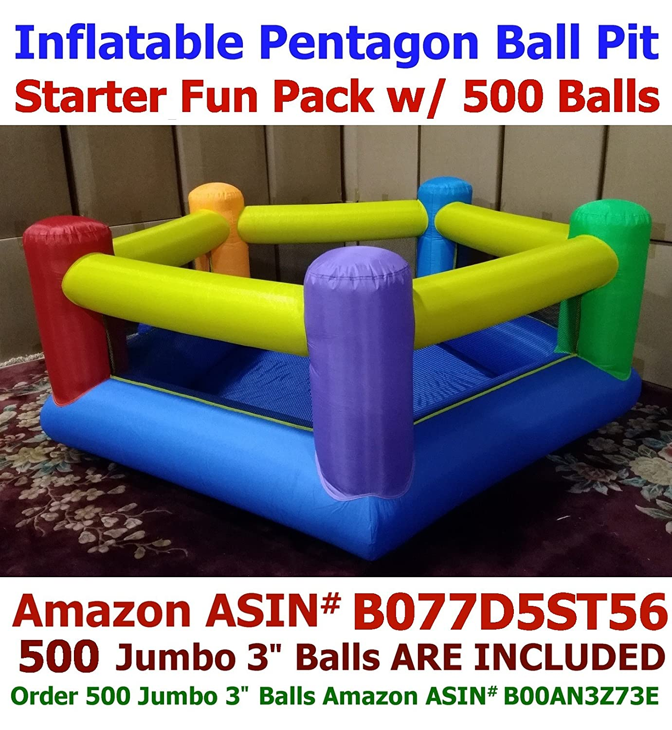 BALLS INCLUDED - My Bouncer Perfect Little Ball Pit Great for Indoor Use - Inflatable to 84' L x 72' W x 40' H w/ Blower Pump ( 1000 Jumbo 3' Balls Required, 500 Balls Included )
