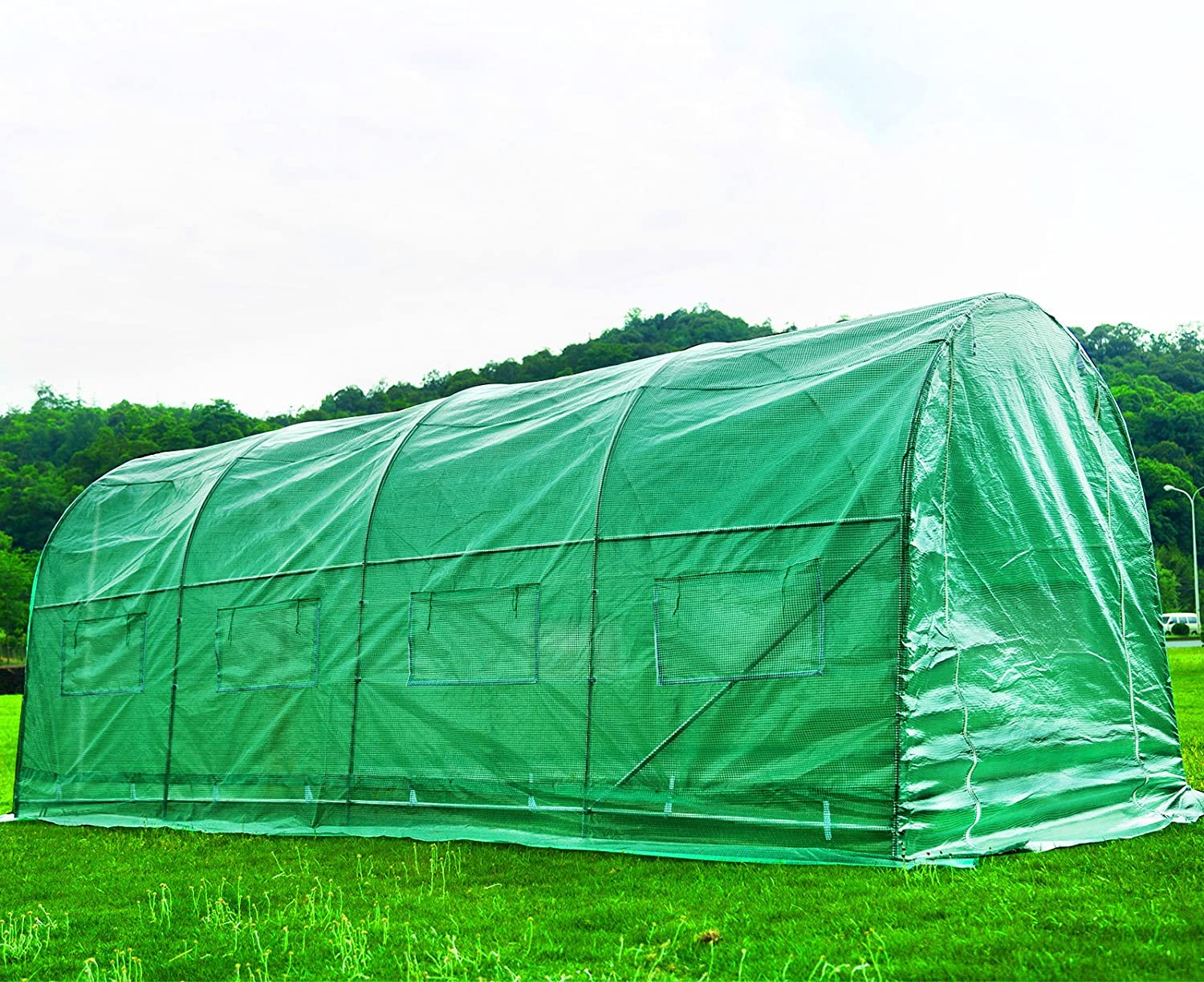 Superworth 3M X 2M Fully Galvanised Steel Greenhouse Frame Poly Tunnel Polytunnel Tunnel 6 m/² Area 2M Height 4 Windows 2 Doors 2 Sections