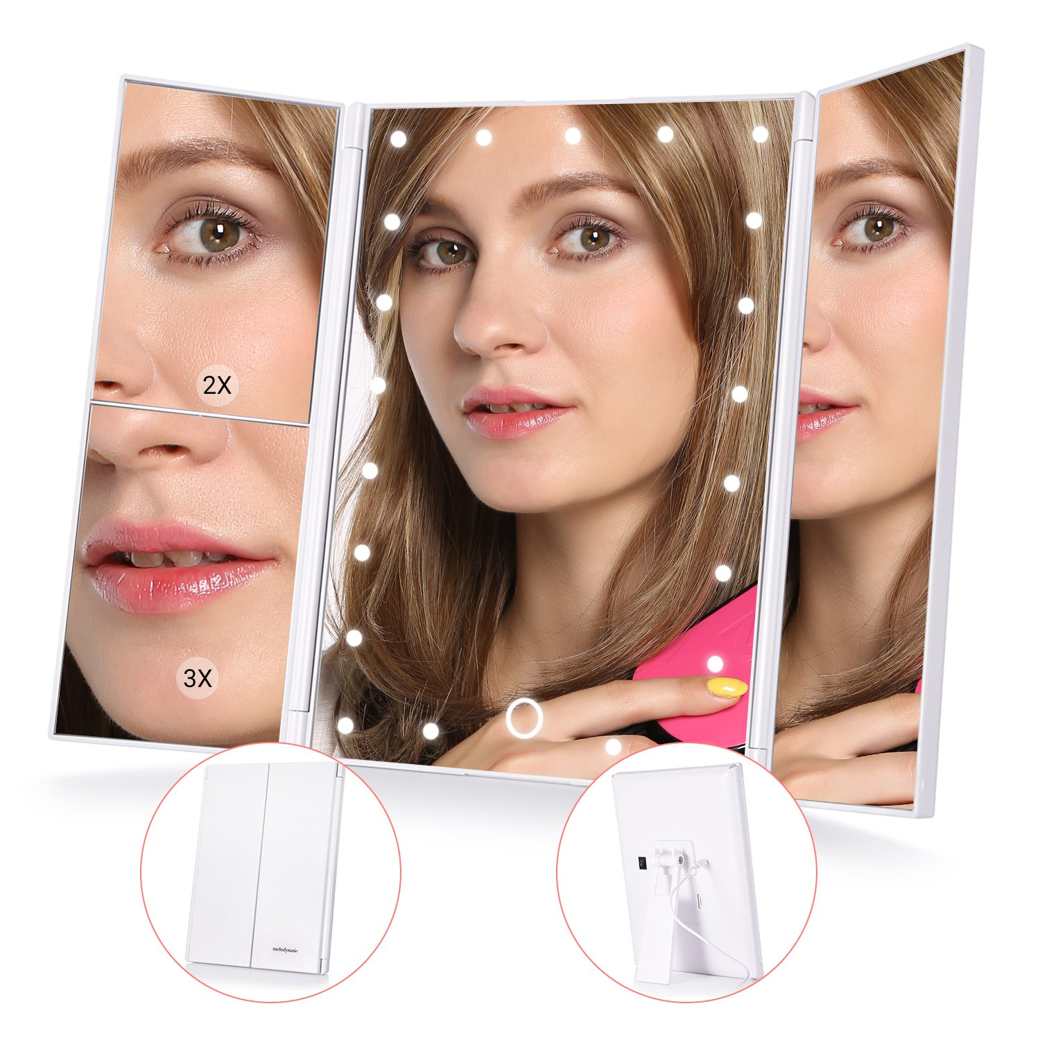MelodySusie Lighted Makeup Mirror - Trifold Vanity Mirror with Lights, 21pcs LED Touch Screen Magnifying Mirror with 1x/2x/3x Magnification, Adjustable Stand for Desktop Cosmetic Makeup