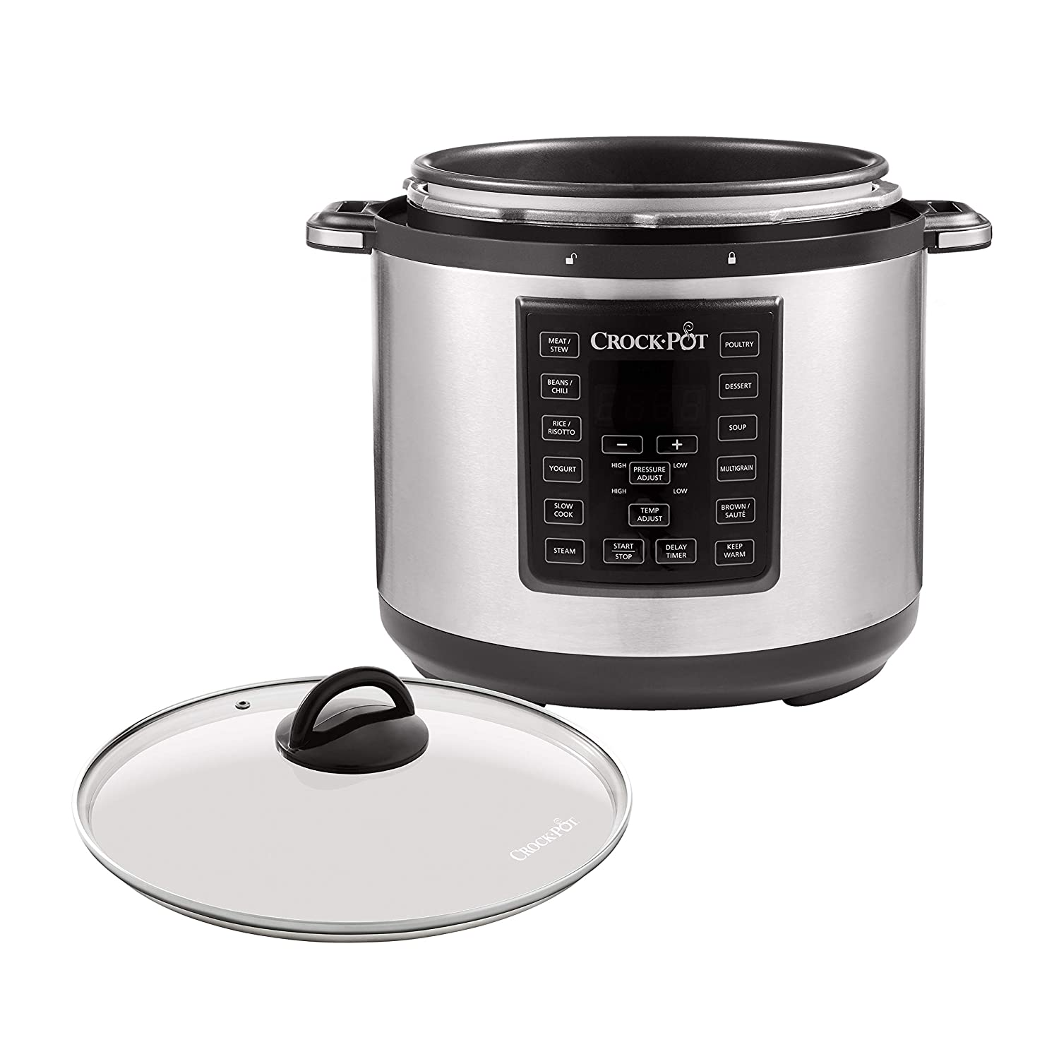 Crock-Pot 6-Quart Multi-Use Express Crock Programmable Slow Cooker and Pressure Cooker with Optional Glass Lid, Stainless Steel
