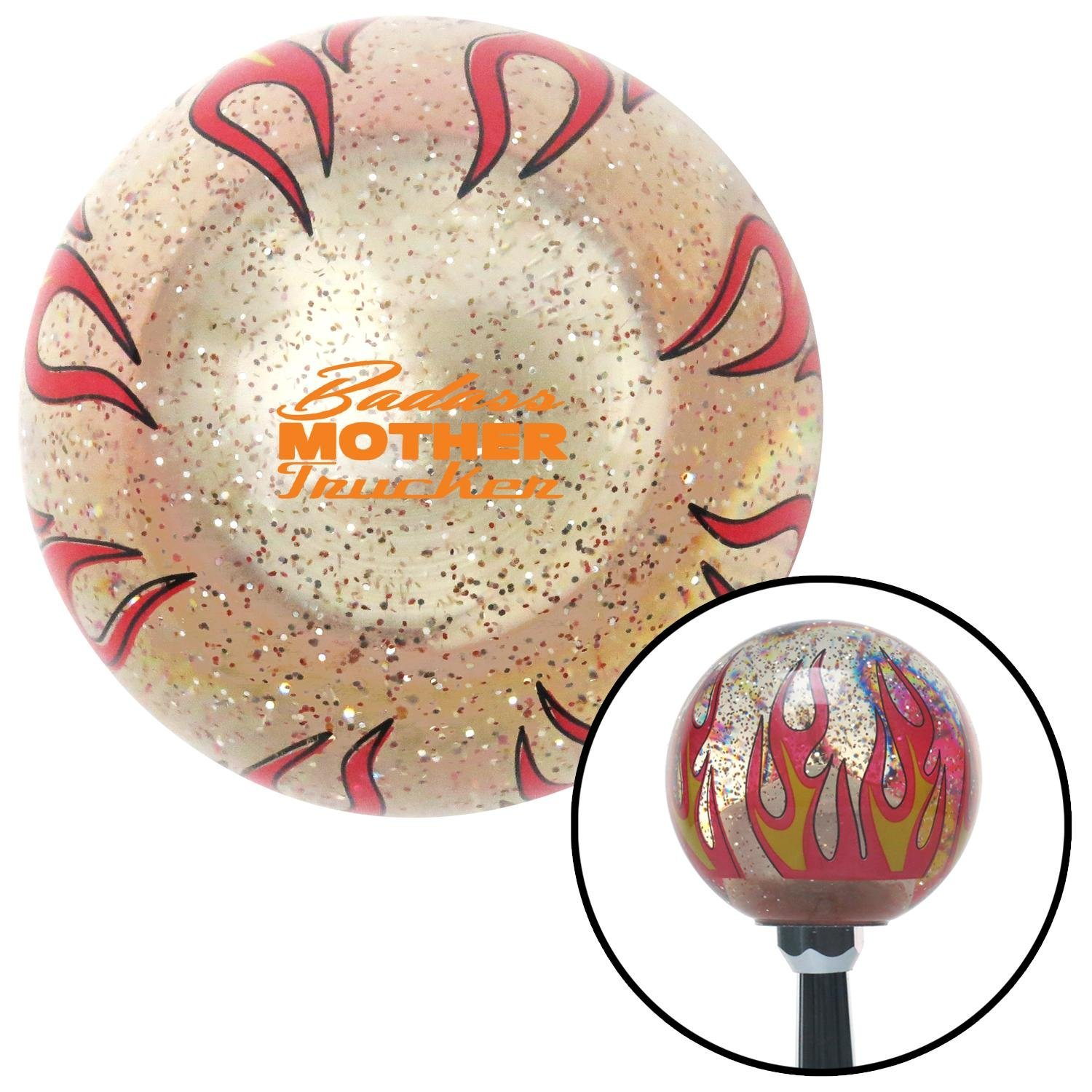 Orange Badass Mother Trucker Clear Flame Metal Flake American Shifter 296143 Shift Knob