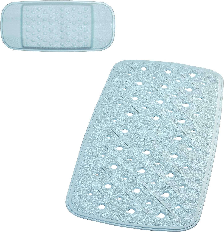 36x71 cm blau ca TPE = Thermoplastisches Elastomere 100/% synthetischer Kautschuk RIDDER Promo Set: Badewanneneinlage Kopfpolster