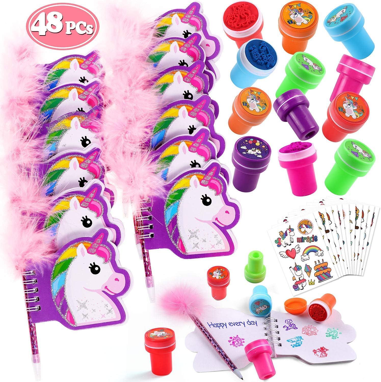 Tacobear 48 Piezas Unicornios para Niñas con Cuaderno Unicornio Bolígrafo Unicornio Tatuajes Unicornio Sellos para Niños Regalo Unicornio Fiesta Cumpleaños Unicornio para Niña Niño
