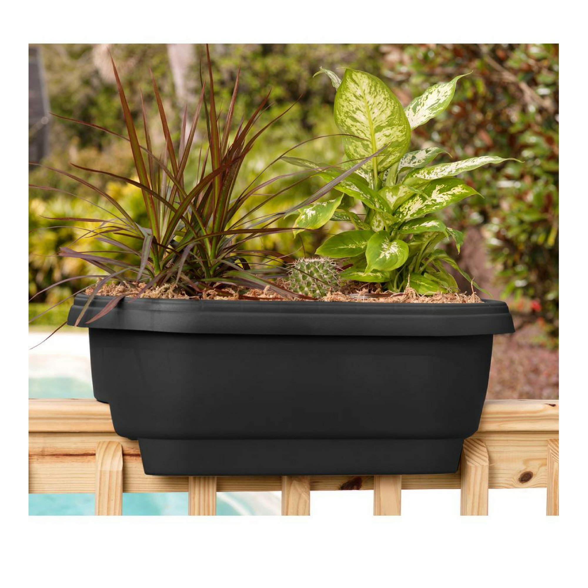Bloem Deck 24 in. Balcony Rail Planter in Black - 1 Pack by Bloem