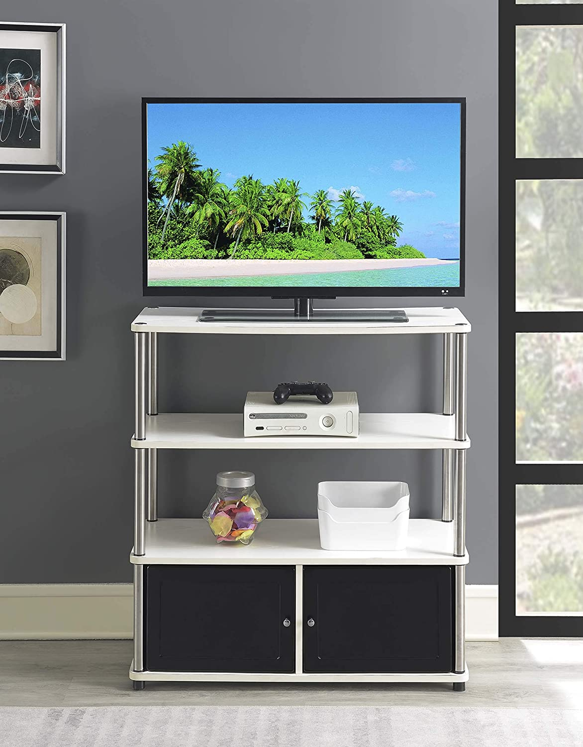 Convenience Concepts Designs2Go Highboy TV Stand, White Black Doors,