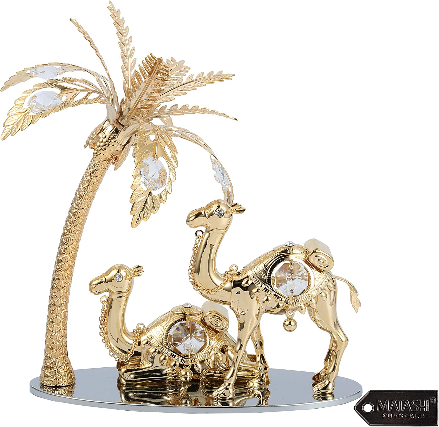 Matashi 24K Gold Plated Crystal Studded Camels and Palm Tree Tabletop Ornament Home Decorative Showpiece for Living Room Bedroom Gift for Christmas Mother's Day Valntine's Day Birthday