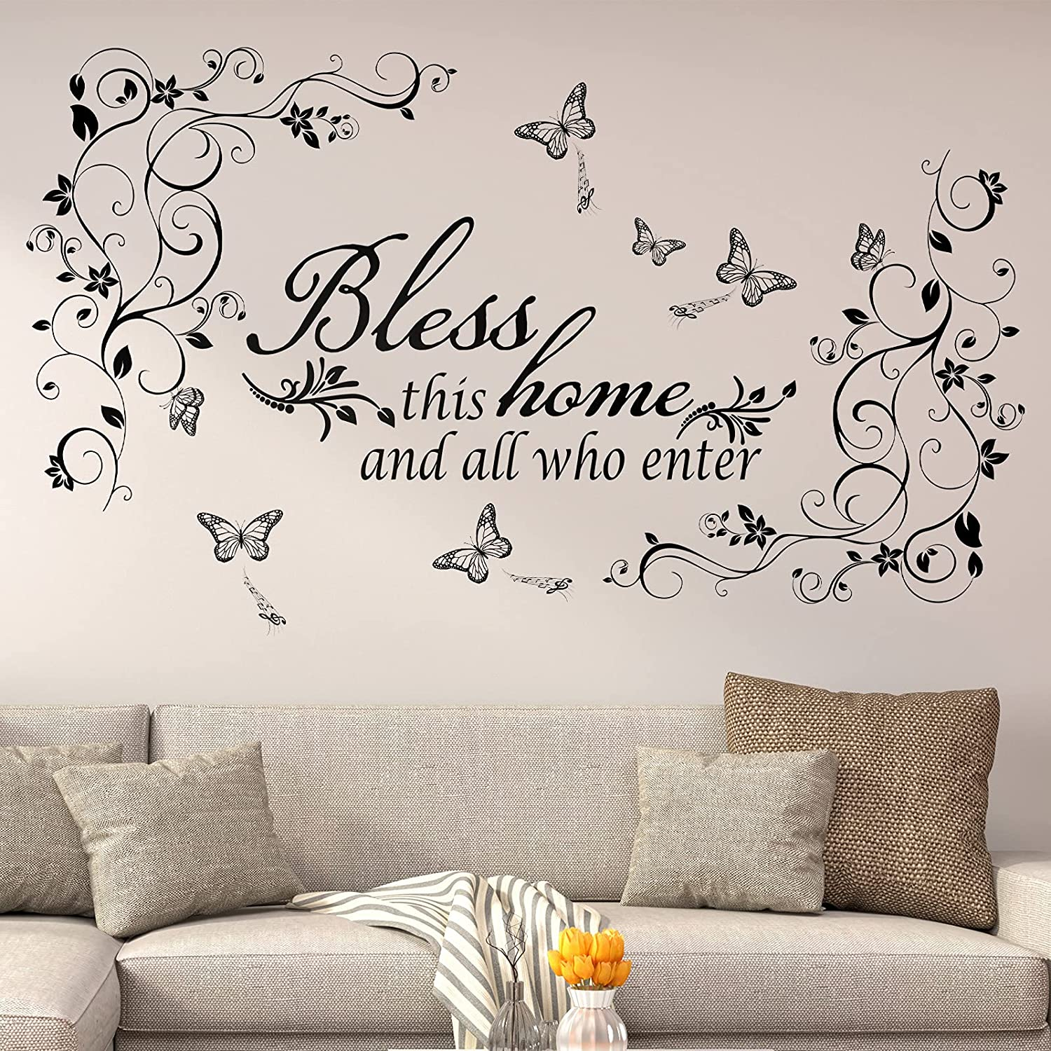Vinyl Wall Quotes Bless This Home and All who Enter Wall Decals Removable Vinyl DIY Black Flowers Vine Wall Stickers Beautiful Butterfly Wall Sticker Murals Peel and Stick Art for Home Living Room