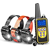 Dog Training Collar, F-color Rechargeable Waterproof Dog Shock Collar Long Remote with Beep, Vibrating , Shock, LED Light for Medium Large Dogs