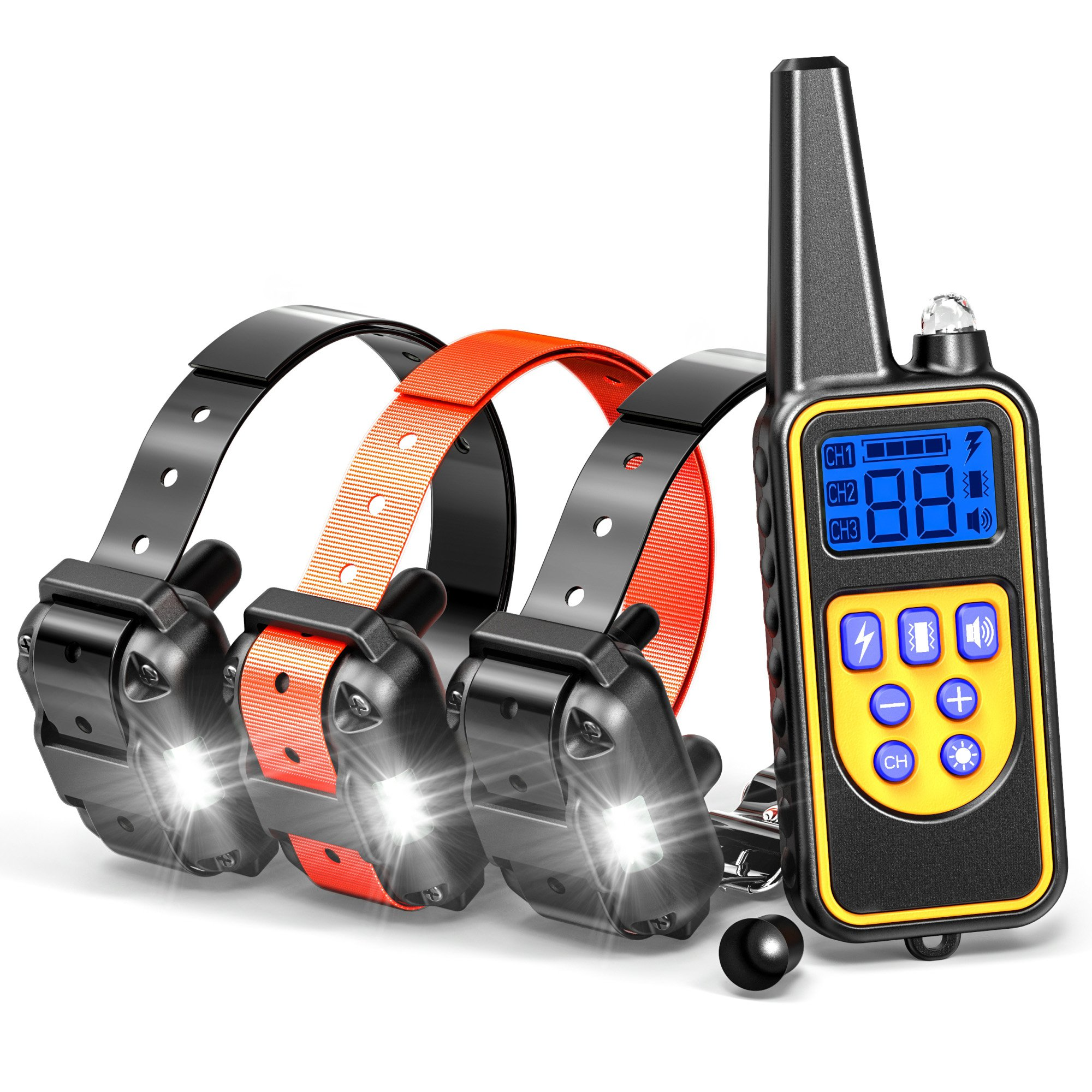 Dog Training Collar, F-color Rechargeable Waterproof Dog Shock Collar 2600ft Remote Dog Trainer Collar with Beep Vibrating Shock LED Light for Medium Large Dogs, Electronic dog training E-collar