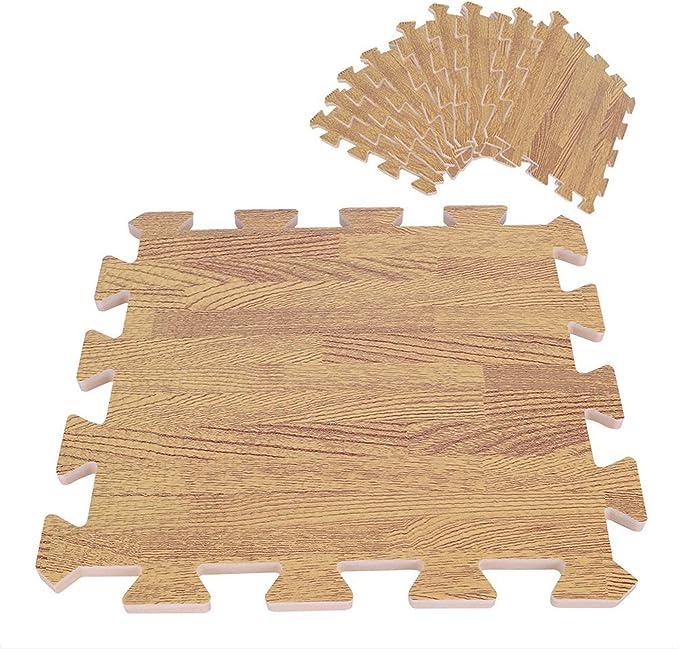 Yosoo - Alfombrilla goma espuma EVA tipo puzzle Wood Grain Interlocking Gimnasia Ejercicio Entrenamiento físico 30 x 30 cm (9 piezas): Amazon.es: Juguetes y juegos