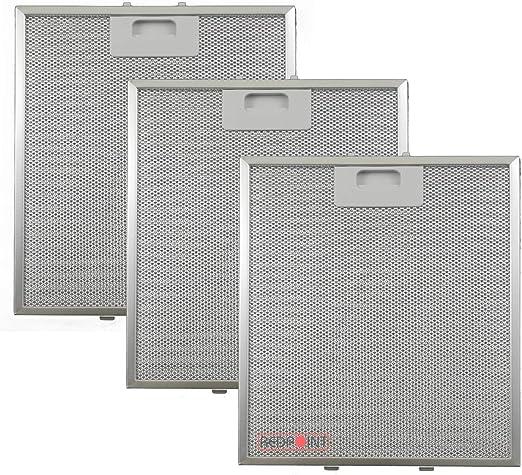 Kit de 3 unidades. Filtros de aluminio para campanas extractoras de 267 x 305 x 9, compatibles con el modelo