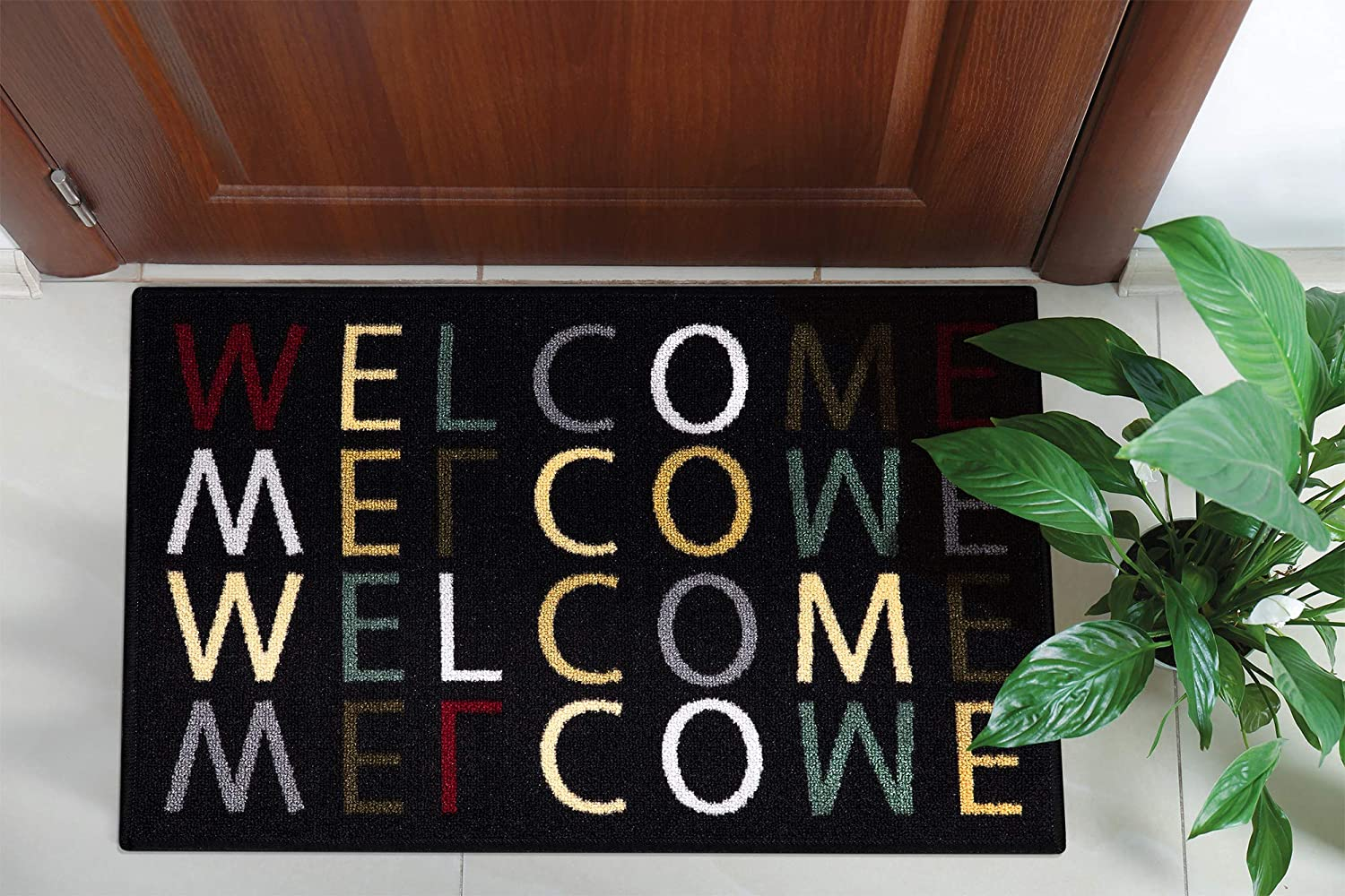 """Ottomanson USA Rugs Collection Rectangular Welcome Home Doormat, 20"""" x 30"""", Multicolor"""