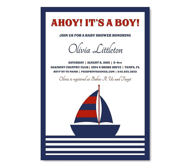 Amazon Ahoy It s a Boy Invitation Ahoy It s a Boy Nautical