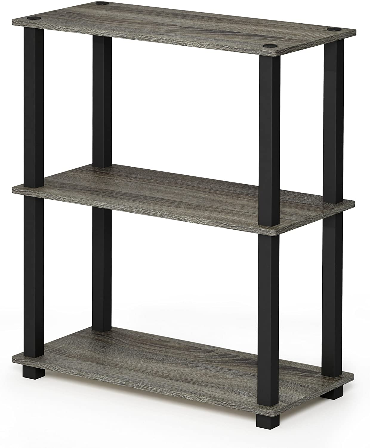 FURINNO 18025GYW/BK Turn-S-Tube 3-Tier Compact Multipurpose Shelf Display Rack, Square, French Oak Grey/Black
