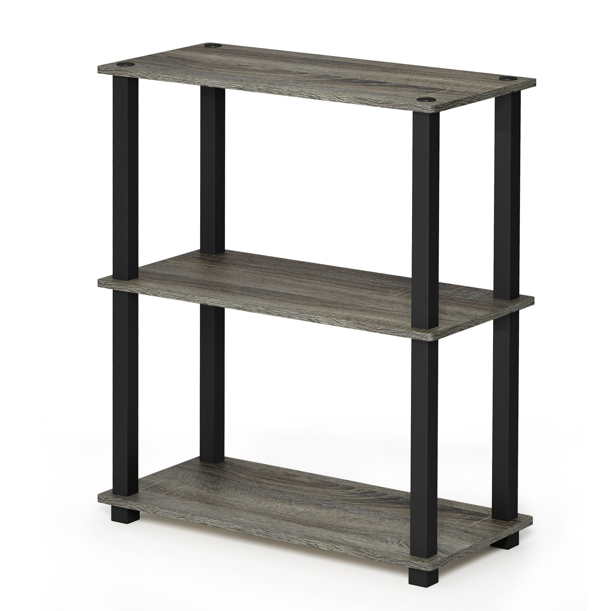 FURINNO 18025GYW/BK Turn-S 3-Tier Compact Multipurpose Shelf with Square Tubes, French Oak Grey/Black by Furinno