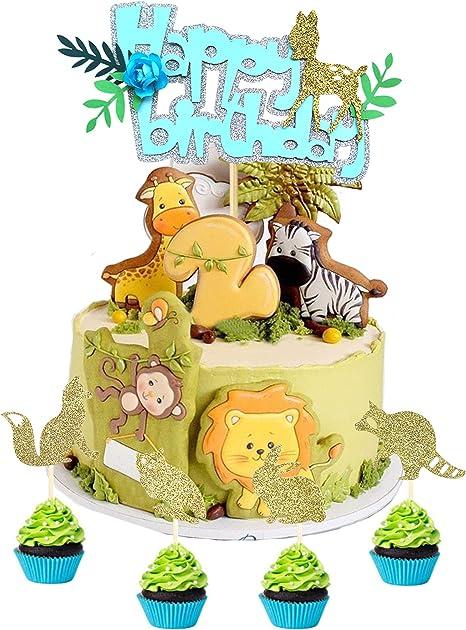 Tremendous Amazon Com Ainuioi Set Of 5 Ainuioi Jungle Animals Cake Topper Funny Birthday Cards Online Elaedamsfinfo