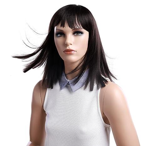 SONGMICS Longitud de 41 cm Peluca con cabello lacio Peluca para mujeres con flequillo Cabello sintético