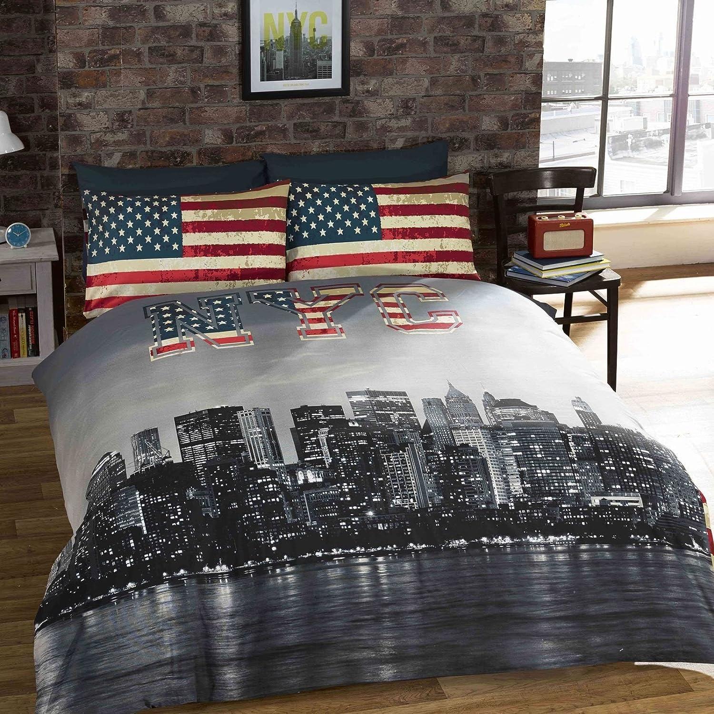 Amazon New York Skyline Double Duvet Cover & Pillowcase Set