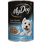 MY DOG Chicken and Turkey Wet Dog Food 400g Can, 24 Pack, Adult, Small/Medium