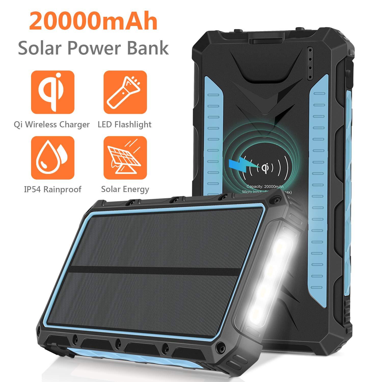 Amazon.com: Solar Charger 20000mAh, Qi Wireless Portable ...