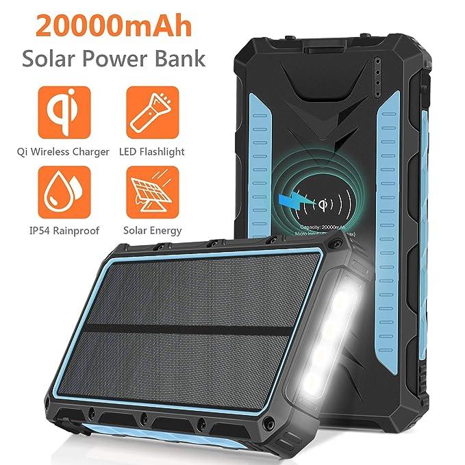 Cargador solar 20000 mAh, Qi inalámbrico, portátil, batería de ...