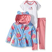 Gerber Baby 3 Piece Hooded Jacket, Bodysuit and Pant Set, rose, 3-6 Months
