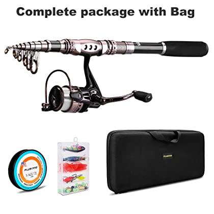PLUSINNO Spinning Rod and Reel Combos FULL KIT Telescopic Fishing Rod Pole with Reel Line Lures Hooks Fishing Carrier Bag Case and Accessories Fishing Gear Organizer … …