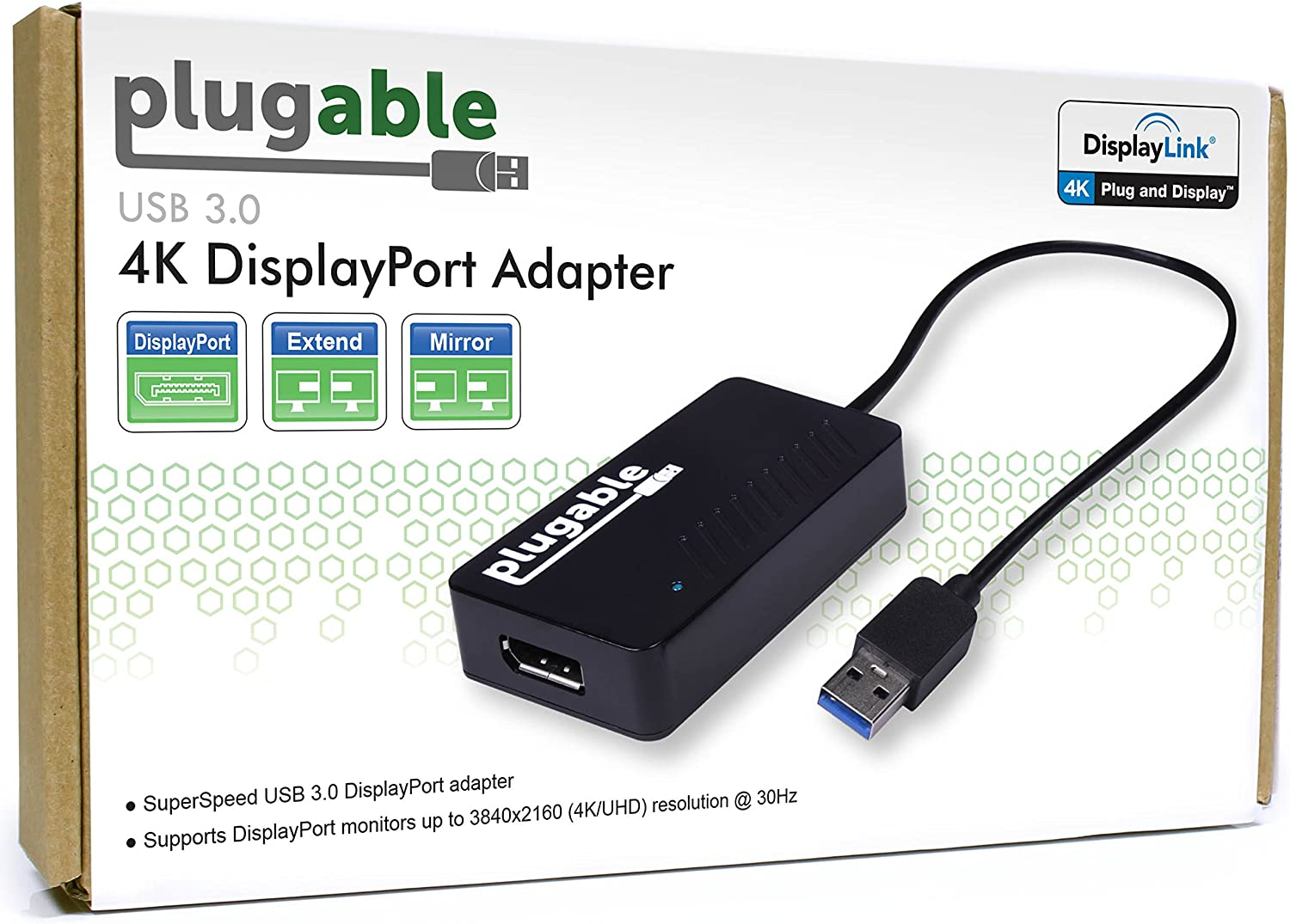 4K @ 30Hz DisplayPort to HDMI Plugable Monitor Adapter