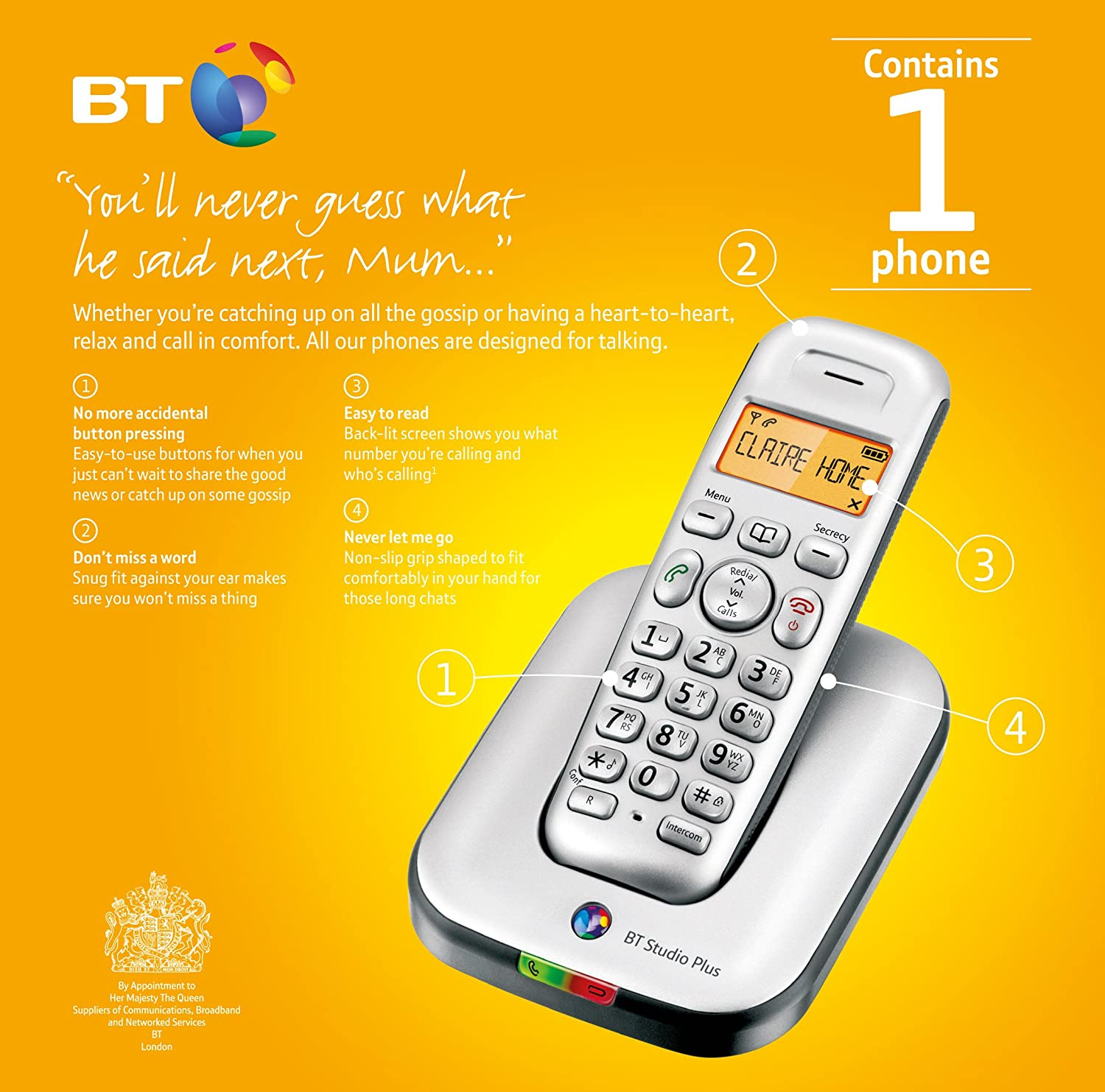 BT Studio Plus 4100 Single DECT Cordless Telephone: Amazon.co.uk:  Electronics