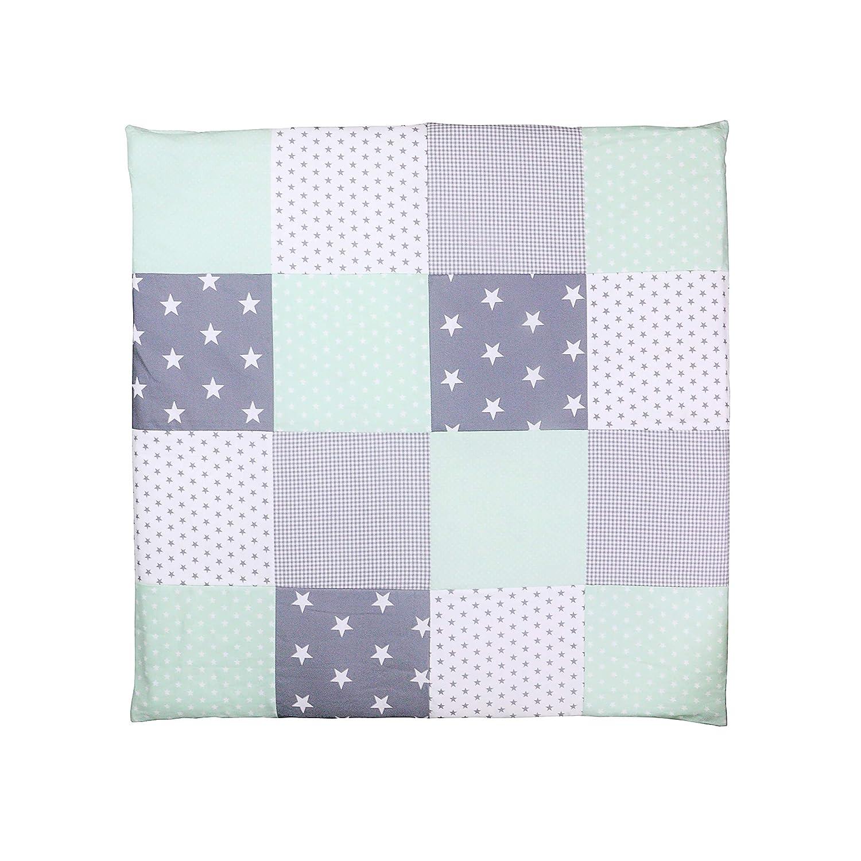 ULLENBOOM /® Babybettw/äsche Set Blau Hellblau Grau 2 tlg. Baby Bettset: Kissenbezug 35x40 cm /& Bettdeckenbezug 80x80 cm, Motiv: Sterne, Patchwork