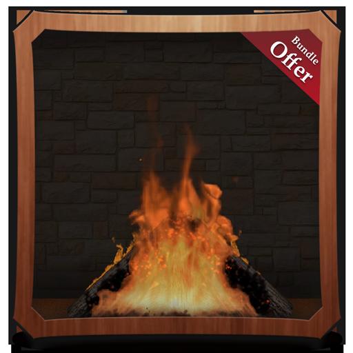 Romantic Fire Log HD - Fireplace Wallpaper & Themes ()