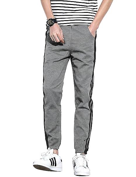 9dda69db8f8c7b Hat and Beyond Mens Fleece Jogger Pants Stripe Casual Urban Active Elastic  Slim Fit (Small