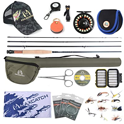 Maxcatch Fly Rod and Reel Outfit//Combo Complete Full Kit For Small Stream