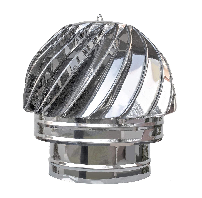 pivotant Embout de Chemin/ée 180mm Chapeau de Chemin/ée Rotatif Acier Inoxydable Extracteur de Fum/ée Capot de Chemin/ée