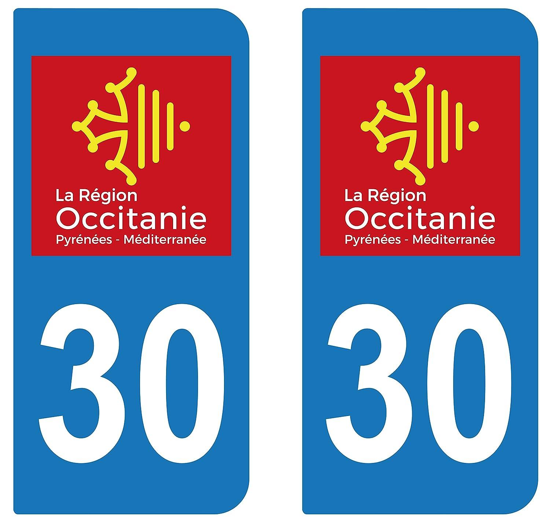 supstick 2 STICKERS AUTOCOLLANT PLAQUE IMMATRICULATION DEPT 30 ré gion Occitanie