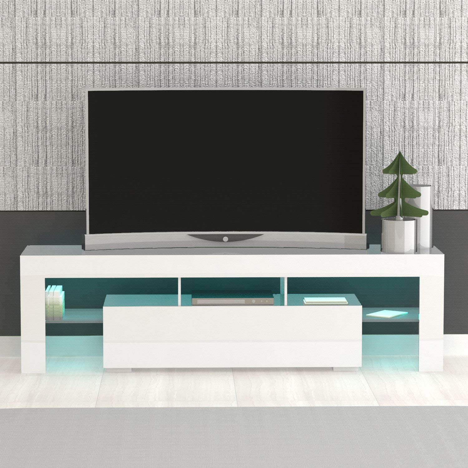 quality design 38b75 249bf MODERN LIFE 160cm TV Unit TV Cabinet Stand with RGB LED Lights and Remote  Control, Shelves Sliding Doors (White High Gloss)