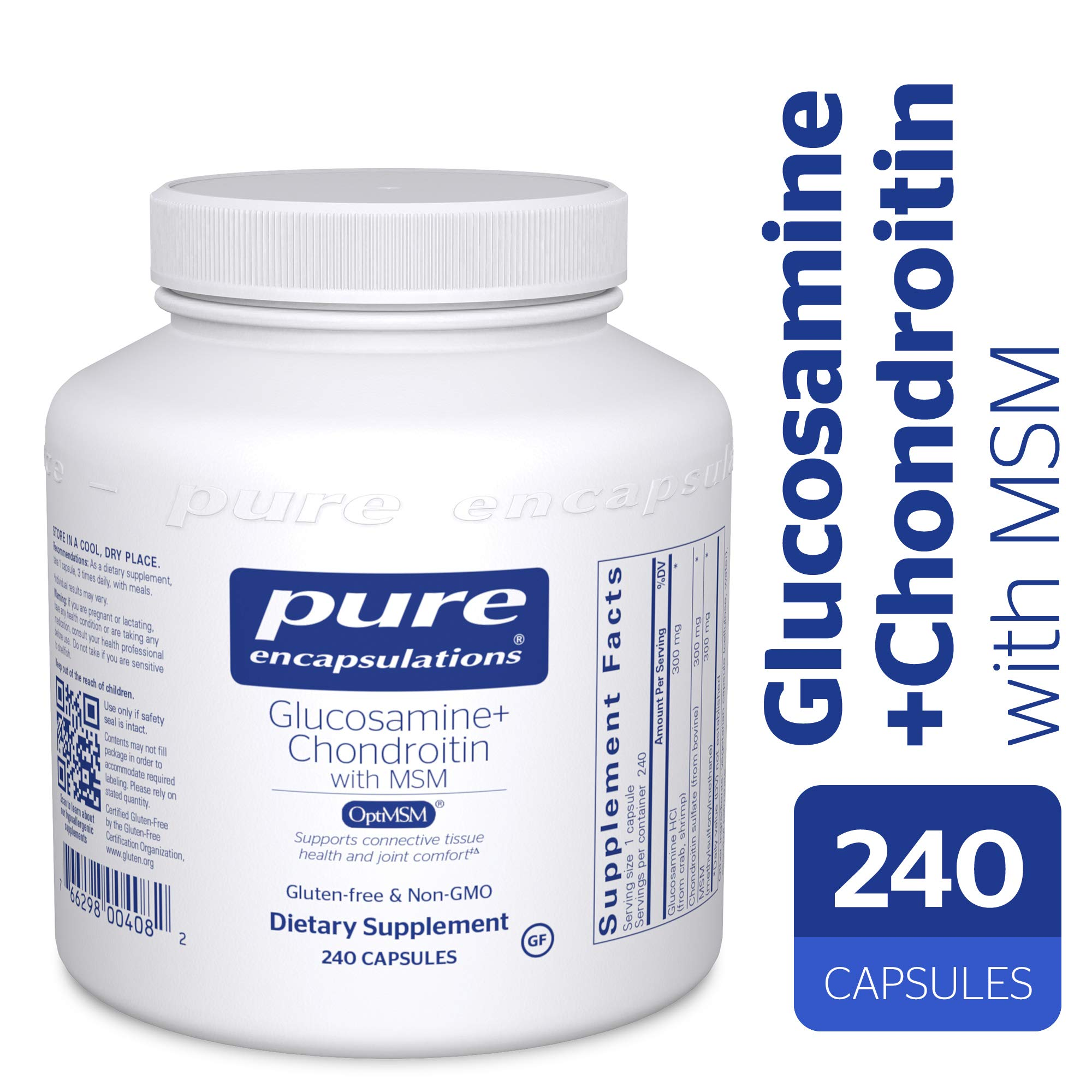 Pure Encapsulations - Glucosamine + Chondroitin with MSM - Healthy Cartilage Strength and Resilience* - 240 Capsules by Pure Encapsulations (Image #1)