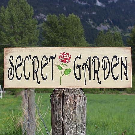 CPWood Letrero de Madera de pájaro para jardín de 15 x 50 cm, para Decorar al Aire Libre, diseño de Rosas, jardín Secreto, Letrero de jardín, Patio, decoración al Aire Libre cb670457: