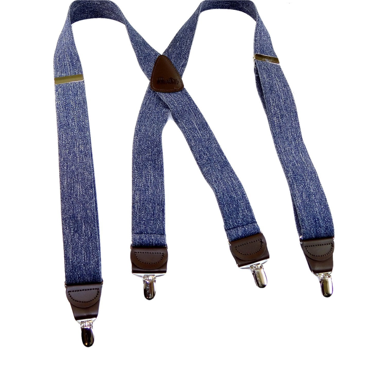 HoldUp Brand Dark Blue Denim X-back Suspenders with patented No-slip Nickel plated Clips