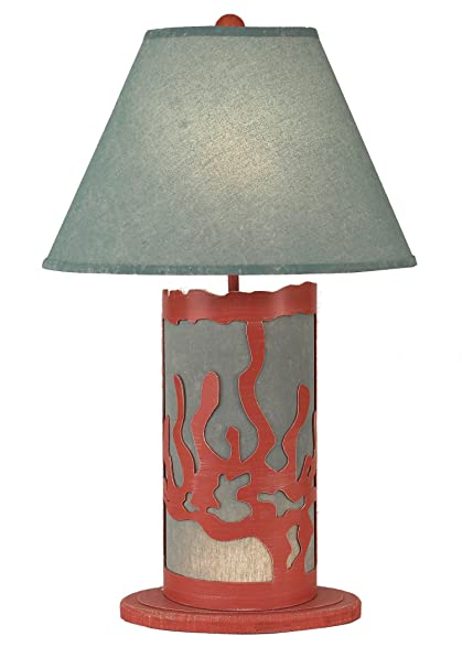Weathered Coral/TURQUOISE Sea Coral Table Lamp With Night Light