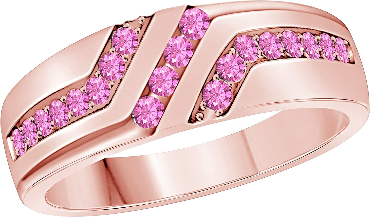 Gems and Jewels Mens Wedding Anniversary Band Ring in 14k Rose Gold Plated Pink Sapphire