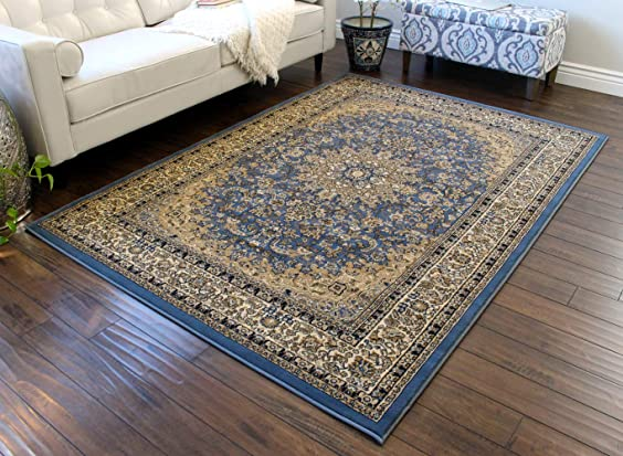 Traditional Area Rug Design Elegance 205 Sky Blue 8 Feet x 10 Feet 6 Inch
