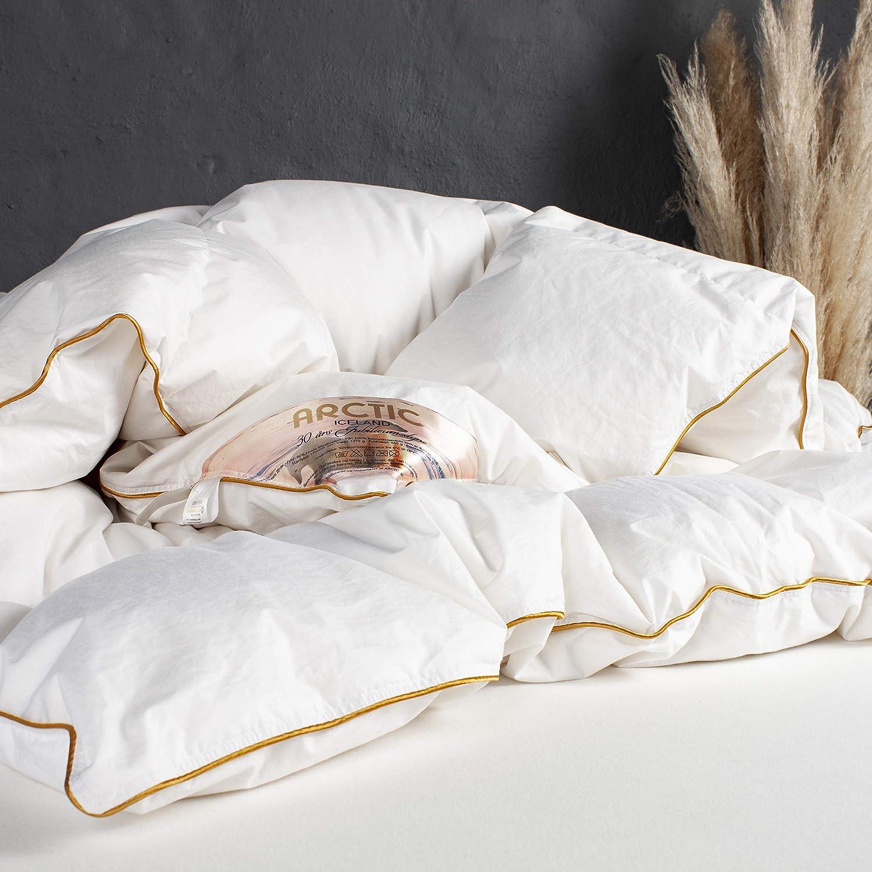 ARCTIC Edredón de plumón Iceland de lujo, con 90% plumón de almizcle blanco, certificado DOWNPASS, Oeko-Tex Standard 100-140 x 200 cm, color blanco
