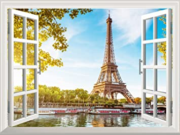 Wall26 Removable Wall Sticker / Wall Mural   Eiffel Tower View Out Of The  Open Window Part 26