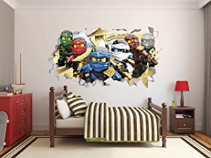Ninjago Series 3D Smashed Wall Effect Wall Decal for Home Nursery Decoration Mural Wall Art (22
