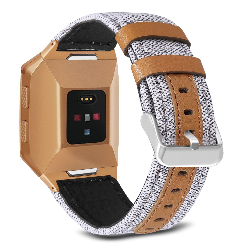 バンドfor Fitbit Ionic、Skyletキャンバスファブリックwith Genuine Leatherストラップwith Metal Clasp for Fitbit IonicスマートウォッチSmart Watch ( Not Included ) 6.9-8.4 Inches/ 175-215mm. Creamy-White with Burnt Orange Connector Creamy-White with Burnt Orange Connector 6.9-8.4 Inches/ 175-215mm. B077MZ78M9